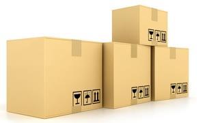 Рисунок нескольких больших коробок с товаром