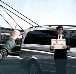Рисунок, на котором мужчину в аэропорту ожидает водитель с машиной