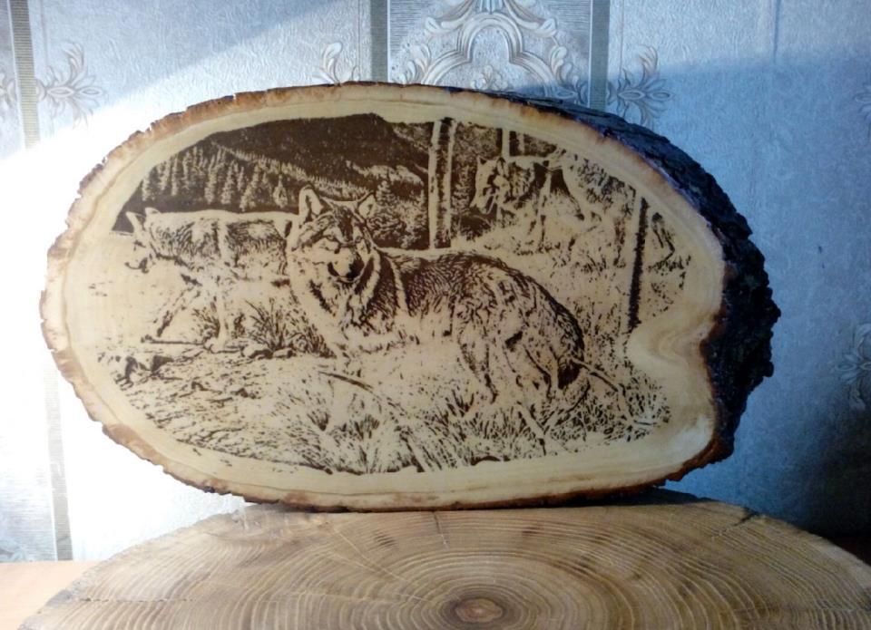 изготовление изображений на спиле дерева