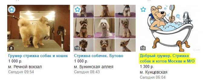 На фото: Объявления с сайта Авито.ру об услугах грумеров в Москве