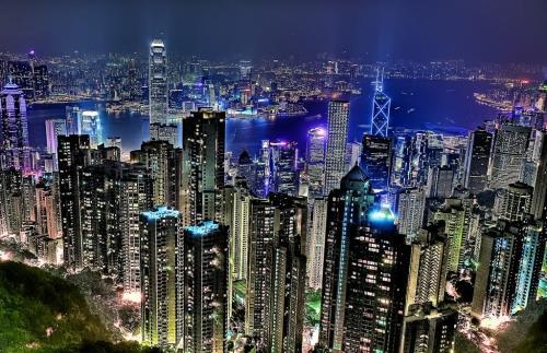 Вид на ночной Гонконг