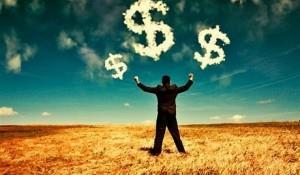 Рисунок, на котором перед мужчиной в небе доллары из облаков