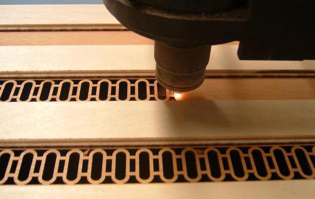 Способ резьбы по фанере путем использования лазера.