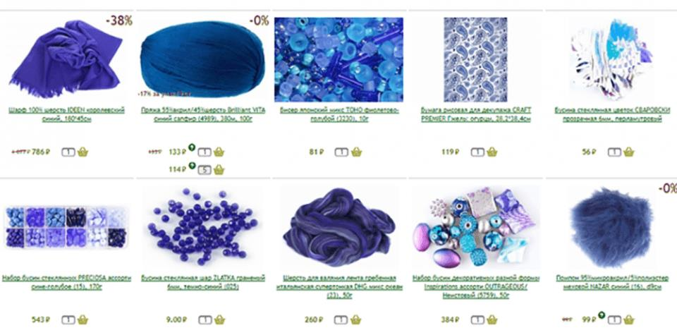 Рисунок 7. Ассортимент товаров интернет-магазина для творчества «Лелека». Источник: Официальный сайт компании «Лелека»