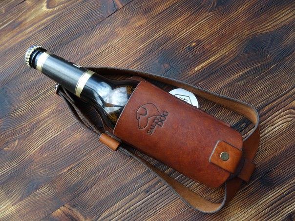 кожаный чехол для бутылки