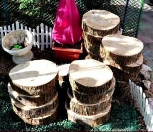 Как сделать деревянную дорожку из спилов бревен