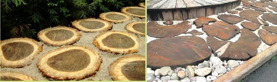 дорожки из деревянных спилов