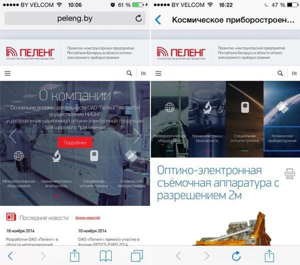 Скриншот с сайта peleng.by