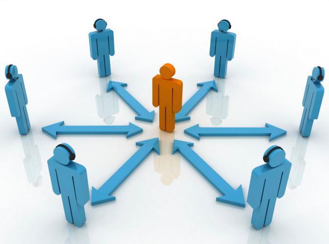Взаимосвязь человечка в центре с группой.