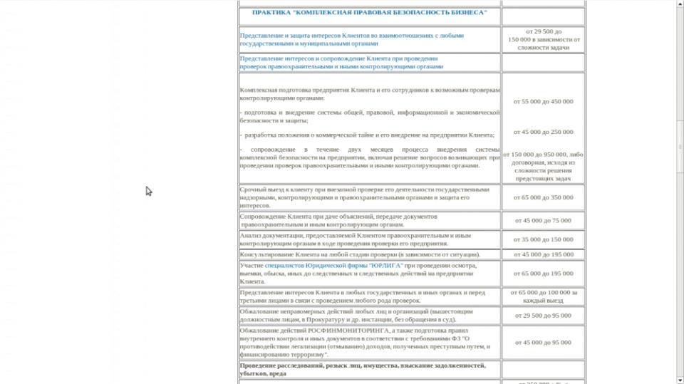 Прайс-лист для юридических лиц