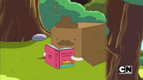 Время приключений, кот в ящике читает